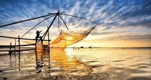 Cảnh ngày hè trên làng đánh cá